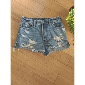 Abercrombie High Rise Distressed Jean Shorts